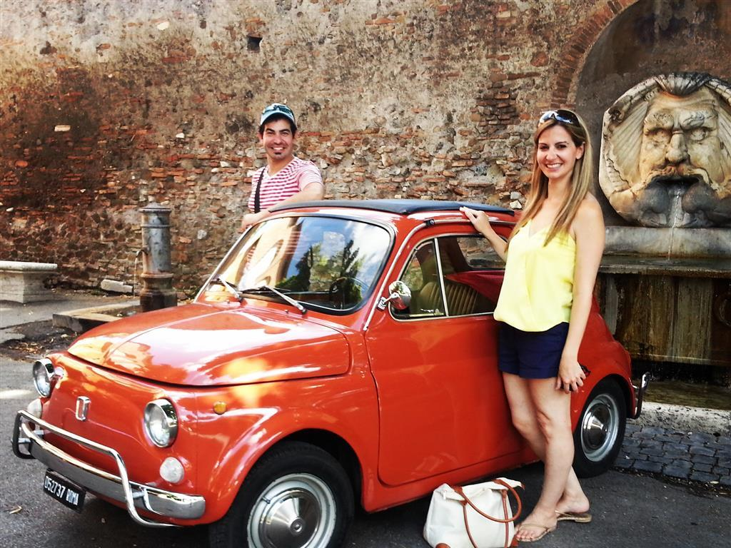 the great beauty tour in fiat 500 vintage car in rome. Black Bedroom Furniture Sets. Home Design Ideas